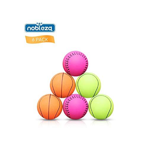 Nobleza - Pelotas Caucho Baloncesto, Tenis, Béisbol para Perros pequeños y Cachorros, 6 Piezas Bola de Juguete Que rebota no tóxica, Adecuada para Perros pequeños y medianos