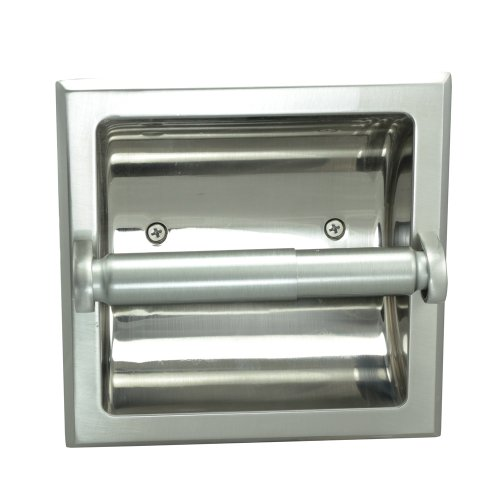 Designers Impressions Satin Nickel Recessed Toilet/Tissue Paper Holder All Metal Contruction - Mounting Bracket Included