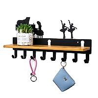 玄関 収納,壁用キーラック、壁用キーハンガー、壁掛けマガジンラック、取り付けが簡単(Size:8 hooks,Color:ブラック)