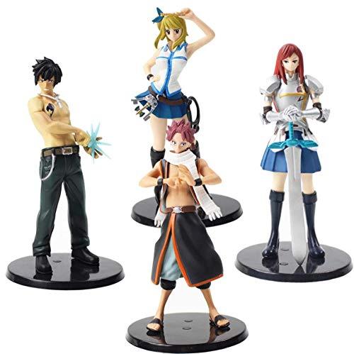 GSDGSD 15cm 4pcs Fairy Tail Figuren Erza Scarlet Grey Fullbuster Lucy Heartfilia Natsu PVC Actionfigur Anime Model Toy