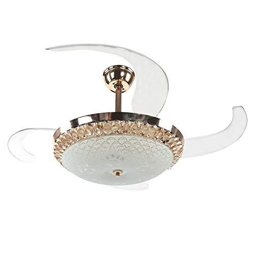 EBTOOLS Deckenventilator mit 3 Farben; Iampadario mit LED-Beleuchtung, einfache Dimmung, mit 4 Flügeln und Fernbedienung, 65 Watt, Gold