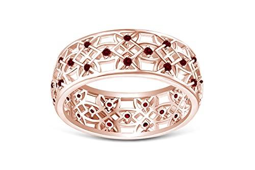 Anillo de flores ahuecadas en oro de 18 quilates sobre plata de ley 925 accesorios de boda joyería para mujer – elegir – diamante simulado, zafiro simulado, esmeralda simulada o rubí simulado, Ruby,