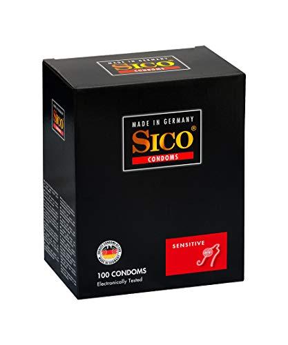 SICO Sensitive Kondome - Naturkautschuklatex - feucht beschichtet - geringe Wandstärke für erhöhte Gefühlsintensität - einzeln verpackt in einer Box - 100er - Made in Germany