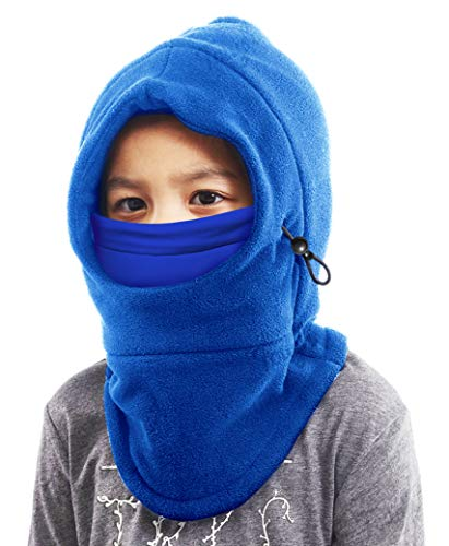 Kids Balaclava Ski Mask - Winter Ninja Face Mask with Hood - Cold Weather Snow Hat & Neck Warmer for Toddlers Boys & Girls