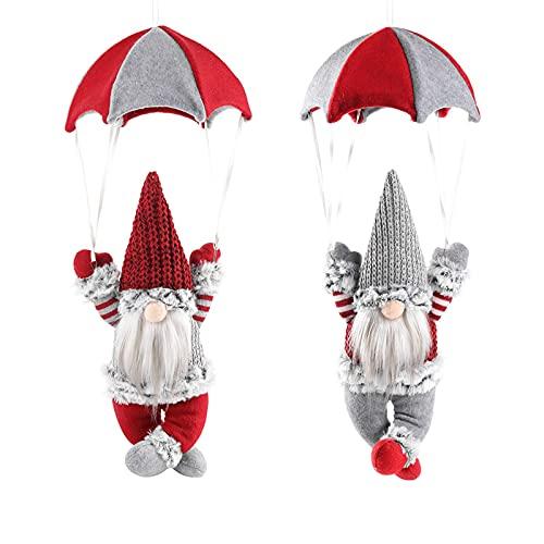 ZCFGUOI 2 decoraciones de gnomo de paracaídas navideñas, paracaidismo sin rostro, para interiores y exteriores, fiestas, Año Nuevo, decoración decorativa creativa