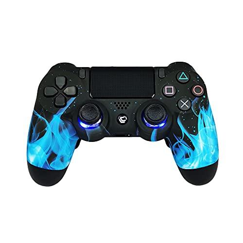 PS4 Custom LED Controller mit 2 Paddles, Blau Flammen Design, V2