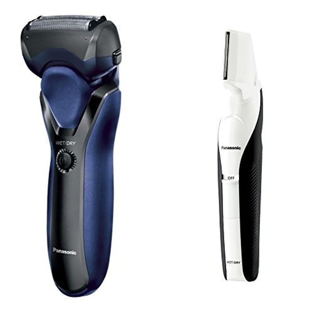 カリキュラム壮大な腐敗したパナソニック メンズシェーバー 3枚刃 お風呂剃り可 黒 ES-RT17-K + ボディトリマーセット