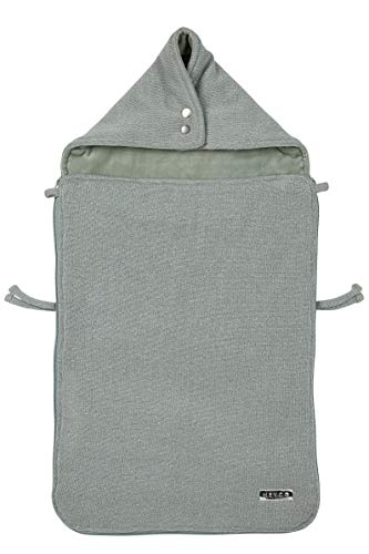 Meyco 2740022 voetenzak velours gevoerd Knit Basic Deluxe met glittereffect Stone Green