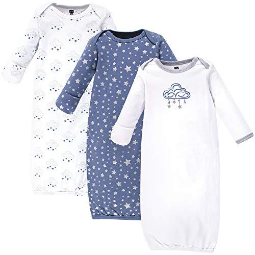 Hudson Baby Unisex Cotton Gowns, Cloud Mobile Blue, 0-6 Months