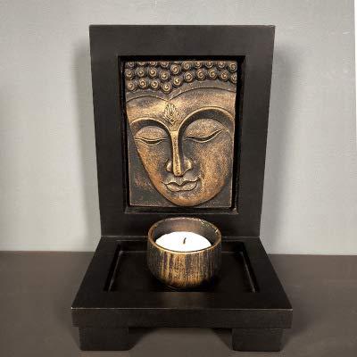 Buddha candle holder,Buddha Tea Light Holders,Candlestick Tealight Holder,Buddha Face Zen Garden with Rock Candle Holder Gift & Home Decor (Bronze)