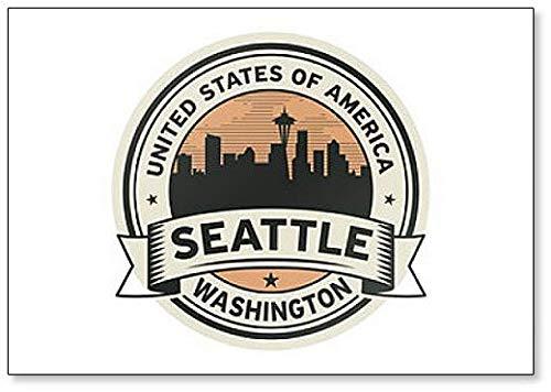 Sello con nombre de Washington  imán para nevera Seattle