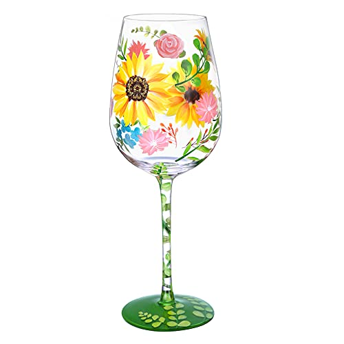 NymphFable Copa de Vino Pintada a Mano Acuarela Flor Copa de Vino Tinto 15oz Regalo para Familia o Amigo