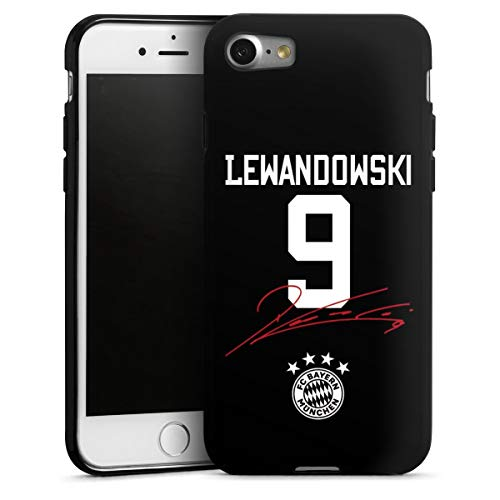 DeinDesign Silikon Hülle kompatibel mit Apple iPhone SE (2020) Case schwarz Handyhülle FC Bayern München FCB Lewandowski