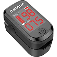 Metene Blood Oxygen Saturation Monitor Heart Rate Monitor Meter, Portable Spo2 Oximeter with 2 Batteries and Lanyard
