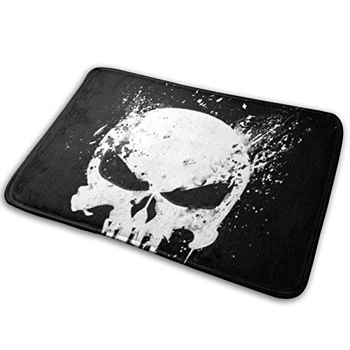 Punisher Marvel - Alfombra de baño y puerta de espuma viscoelástica, antideslizante, absorbente, muy cómoda, alfombra de baño de franela para cama de 60 x 40 cm