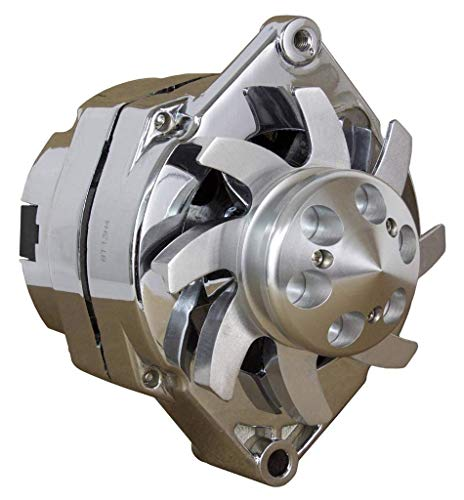 Eagle High HIgh Amp Alternator HIGH Output Chrome ALTERNATOR for Chevy Holden BBC SBC GM Hotrod 1 ONE Wire with Custom Billet Aluminum Fan Pulley 200 HIGH Amp from 1965 to 1980 with v groove pulley