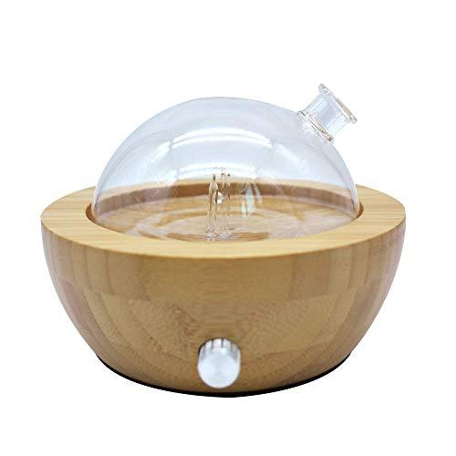 Bambus und Glas Vernebelung rein ätherisches Öl Aroma Diffusor mit Farben verändert Licht, keine Wärme, kein Wasser, kein Kunststoff