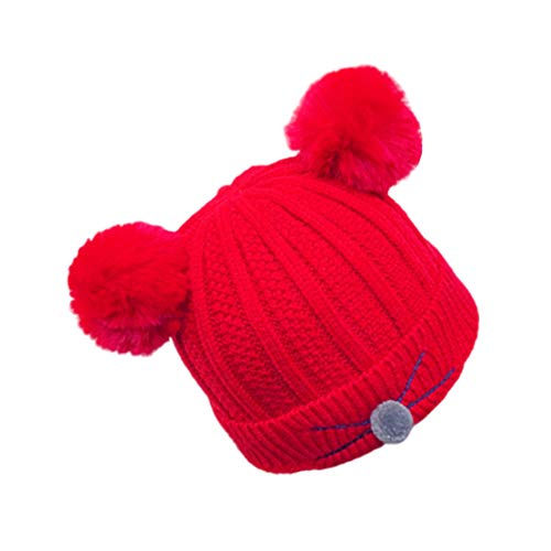 HIOD Bebés Niños Niñas Sombrero de Invierno Sombreros de Punto Cálido Niño Pequeño Niño Bola de Pelo Gorro 3-24 Meses,Red