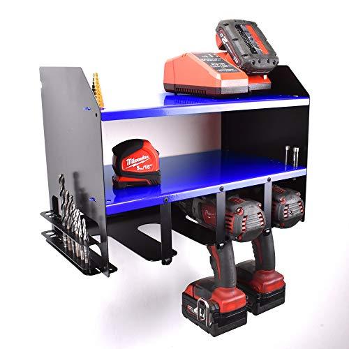 Blue Bosch Draper Drill Driver Battery Tool Rack Shelving Storage Workshop Organiser