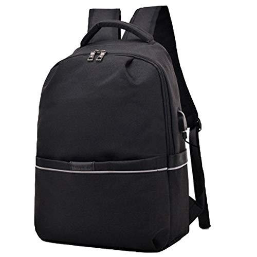 Petay - Bolsa de ordenador portátil de viaje, mochila con USB, puerto de carga para hombres y mujeres, Negro (Negro) - 49BZNUIQJU