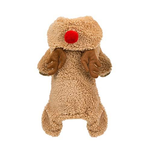 POPETPOP Haustier Weihnachtskostüm-Weihnachten Deer Kleiner Hunde-Bekleidung Teddy warmer Mantel Pet Winter-Custume (Brown, Größe L)