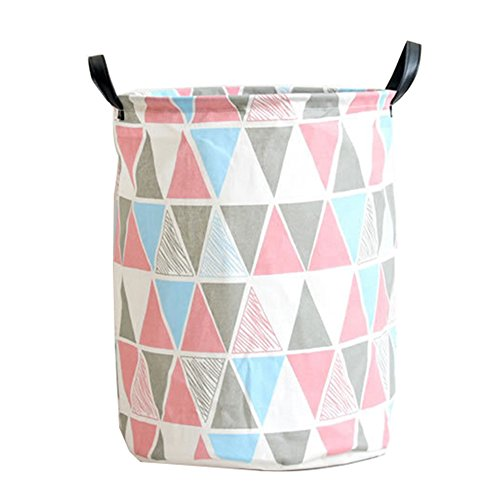 Pauwer Fabric Nursery Hamper Canvas Laundry Basket Foldable with Waterproof PE Coating Large Storage Laundry Hamper for Kids Boys and Girls Office, Bedroom, Clothes, Toys(17.3'x13.8',Triangle)