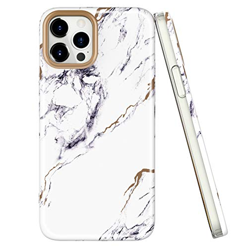 Compatible with iPhone 12/12 pro Marble Case, Ultra Slim Thin Glossy Hybrid IMD Marble TPU Shockproof Scratch-Proof Phone Covers 6.1 inch
