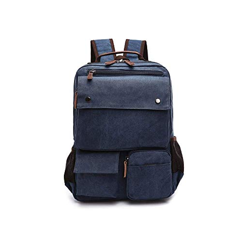 MANNUOSI Casual Daypacks Men Canvas Durable School Backpack High Capacity Traveling Backpack Navy Blue