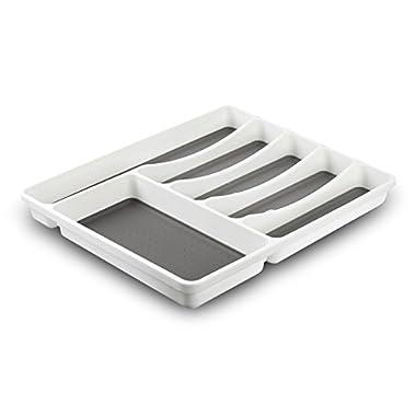 Non-Slip Cutlery Tray, Flatware Drawer Organizer for Utensil,Silverware, Cooking Spoon (Plastic, 15.9x12.7x1.7)