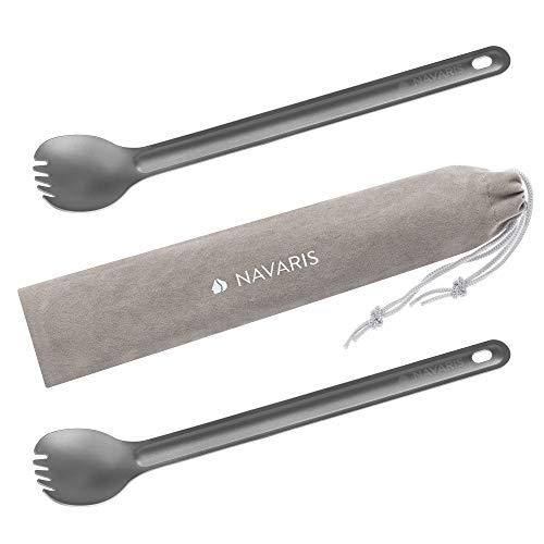 Navaris 2X Cubierto de Titanio Largo - Kit de cucharas con p
