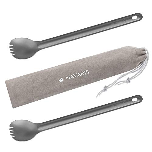 Navaris 2X Cubierto de Titanio Largo - Kit de cucharas con púas de Tenedor de 21.5 x 3.9 CM - Cubiertos livianos para Camping Senderismo con Bolsa