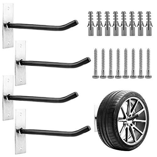 CARTMAN Heavy Duty Steel Garage Wall Mount Tire Wheel Storage Rack, Pack of 4