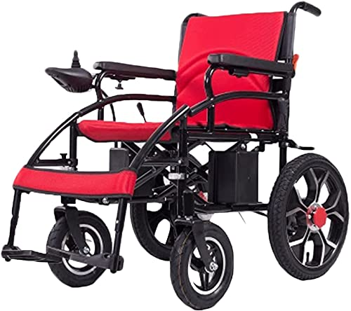 MENG Electric Wheelchair All-Terrain Heavy-Duty Powerful Dual-Motor Light-Weight Foldable Electric Wheelchair Scooter for The Elderly and The Disabled,Red