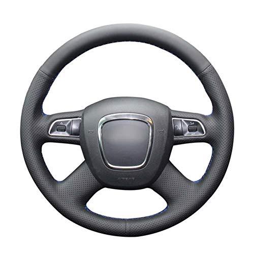 ZHHRHC Cubierta de Volante de Cuero Artificial PU Negra Cosida a Mano, para Audi A3 (8P) Sportback A4 (B8) Avant A5 (8T) A6 (C6) A8 (D3)