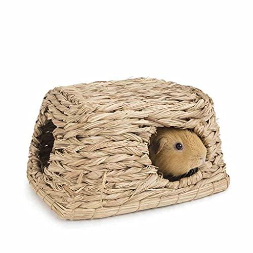 Mascota Rata Casa Hámster Paja Guinea Conejillo Mascota Hierba Jerarquía Casa De Paja Conejo Masticar Juguete Hecho A Mano Paja Nido Productos para Mascotas (Color : Brown, Size : 25 * 19 * 13 cm)