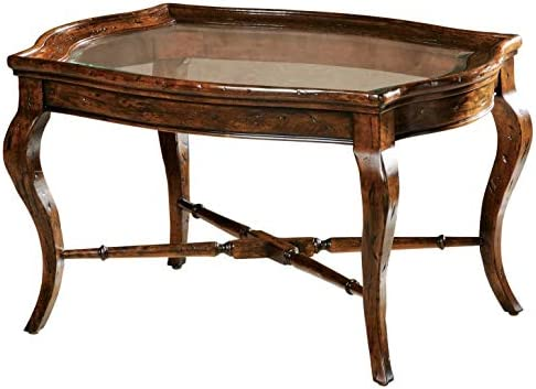 Best MISC Oval Solid Wood Coffee Table - Rue De Bac Brown Colonial Mahogany Finish Tray Top