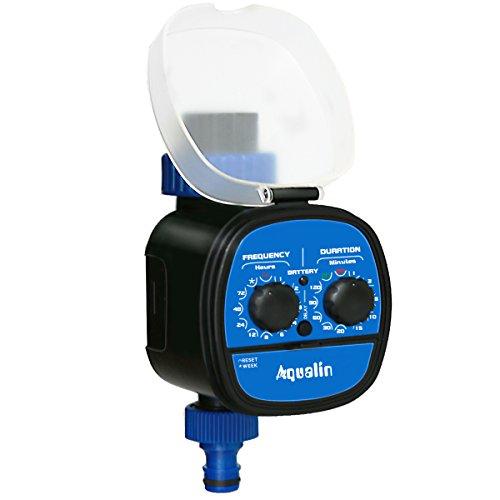 Aqualin Garten Kugelhahn Bewässerungsuhr Elektronischer Bewässerungscomputer Mit Verzögerungsfunktion Automatisch Bewässerung, Wasserdicht, MERHWEG