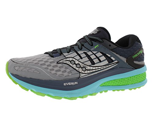 Saucony Women's Triumph ISO 2 Running Shoe, Grey/Blue/Slime, 11 M US