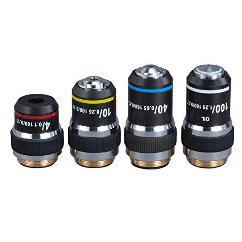 OMAX Achromatic Microscope Objective Lenses Set with Black Coating - 4X, 10X, 40X, 100X