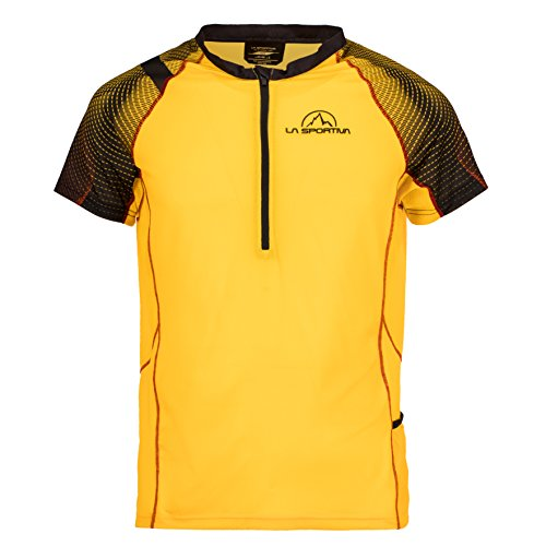 La Sportiva Men's Sonic T-Shirt - Mountain Trail Running Shirt for Men, Black/Yellow, M