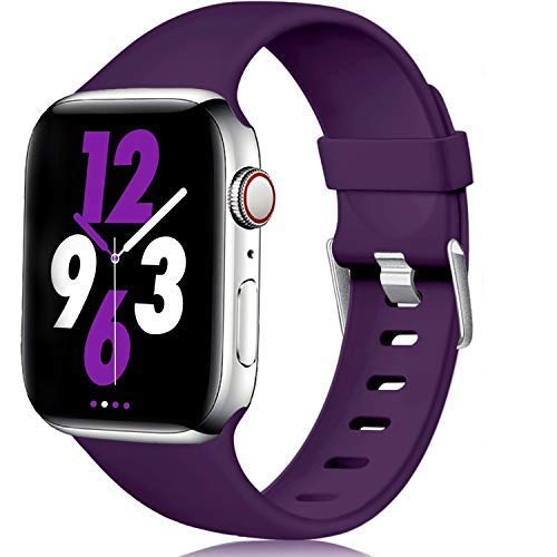 Laffav Compatible with Apple Watch Band 44mm 42mm, Waterproof Replacement Sport Strap for iWatch Series 5 4 3 2 1, Purple, S/M