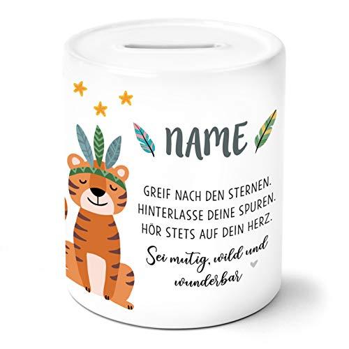 OWLBOOK Boho Tiger Kinder Spardose Personalisiert mit Namen Geschenke Geschenkideen für Mädchen zum Geburtstag Weihnachten Einschulung Taufe Geburt Sparschwein