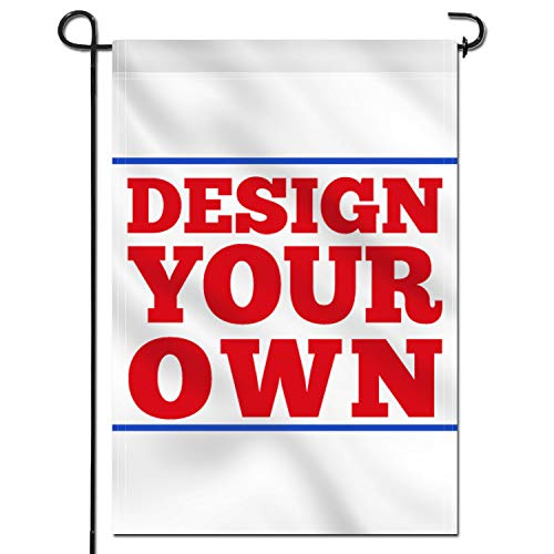 Anley Double Sided Custom Garden Flag 18 x 12.5 in with Flag Stand - Print Your Own Logo/Design/Words - Weather Resistant & Double Stitched - Customized Garden Flags Banners (Flagpole Included)