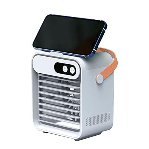 GvvcH Condizionatore Ventola Ricaricabile Raffreddatore D Aria Umidificatore Ventilatore Mini Ventola di Raffreddamento Ad Aria Portatile da Tavolo USB Easy Cool,White