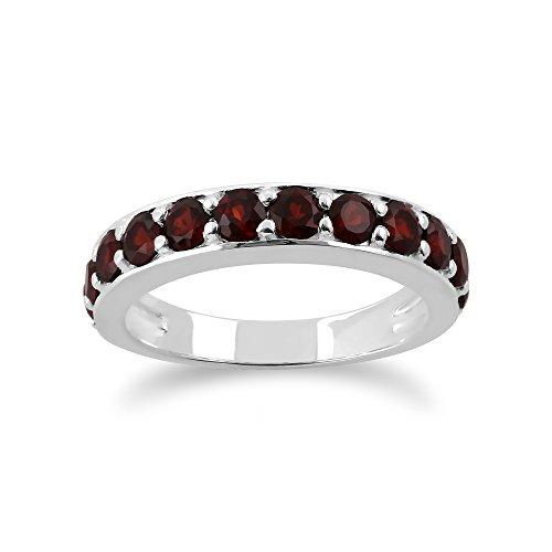 Sterling Silver 1.40ct Thai Garnet Half Eternity Style Ring