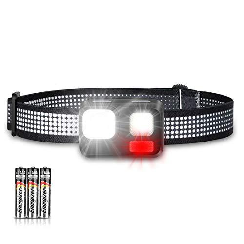 EVERSHOW LED Stirnlampe Sehr Hell Mini Leicht Praktische Stirnlampen mit Rotlicht und Blinklicht, 8 Modi fürs Laufen Joggen Campen Angeln Lesen Arbeiten Gassi gehen (inkl. 3 AAA Energizer Batterie)