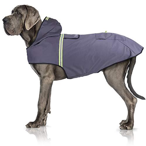 Bella & Balu Hunderegenmantel – Wasserdichter Hundemantel mit Kapuze und Reflektoren für trockene, sichere Gassigänge, den Hundespielplatz und den Urlaub mit Hund (XL | Grau)