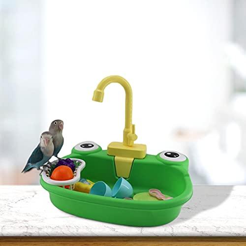 Gidenfly - Bañera para pájaros, bañera automática, lámpara y fuerte pájaro, piscina, piscina, pájaro, jaula, juguetes de baño con grifo para varios pájaros y animales de compañía