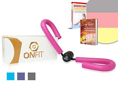 OnFit ® Oberschenkeltrainer in Premium Qualität [inkl. Trainingshandbuch und Anleitung] -  [inkl. 30 Tage Online Ernährungschallenge] multifunktional - Heimtrainer mit superweichen Schaumstoff