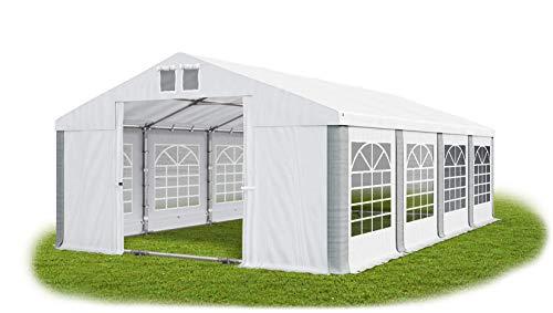 Das Company Partyzelt 6x8m wasserdicht weiß-grau mit Bodenrahmen und Dachverstärkung Zelt Dachplane modular 580g/m² PVC hochwertig Gartenzelt Summer Plus MS/SD